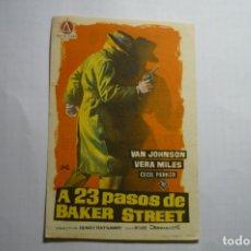 Cine: PROGRAMA A 23 PASOS DE BAKER STREET-VAN JOHNSON PUBLICIDAD. Lote 180501511