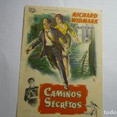 Cine: PROGRAMA CAMINOS SECRETOS-RICHARD WIDMARK PUBLICIDAD. Lote 180501650