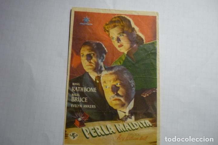 PROGRAMA PERLA MALDITA - BASIL RATHBONE - PUBLICIDAD CINE PISTA JARDIN- CASTELLAR (Cine - Folletos de Mano - Suspense)