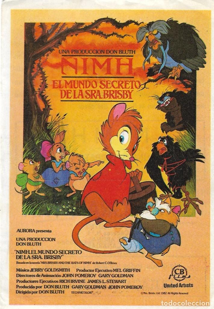 PROGRAMA DE CINE - NIMH EL MUNDO SECRETO DE LA SEÑORA BRISBY - CINE GRAN VÍA - 1982. (Cine - Folletos de Mano - Infantil)