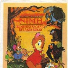 Cine: PROGRAMA DE CINE - NIMH EL MUNDO SECRETO DE LA SEÑORA BRISBY - CINE GRAN VÍA - 1982.. Lote 180875445