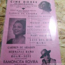 Cine: CARTEL ESPECTÁCULO MORAL Y DINÁMICO CINE DOREE SAN CARLOS DE LA RÁPITA. Lote 180891276