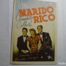 Cine: PROGRAMA DOBLE UN MARIDO RICO - CLAUDETTE COLBERT .-PUBLICIDAD. Lote 181079630