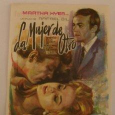 Cine: PROGRAMA DE CINE LA MUJER DE OTRO. Lote 181085210