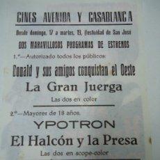 Cine: EL HALCÓN Y LA PRESA 1967 PUBLICIDAD DE LOS CINES AVENIDA Y CASABLANCA LEE VAN CLEEF, TOMAS MILIAN, . Lote 181407637