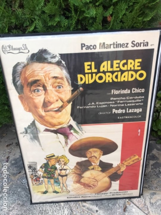 Cine: Cartel Cine Película El Alegre Divorciado de Paco Marínez Soria. Original. Medidas:100 X 70 cms - Foto 2 - 117376847