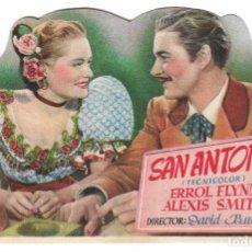 Cine: PROGRAMA DE CINE TROQUELADO - SAN ANTONIO - ERROL FLYNN, ALEXIS SMITH - CINE ECHEGARAY (MÁLAGA) 1945. Lote 181700158