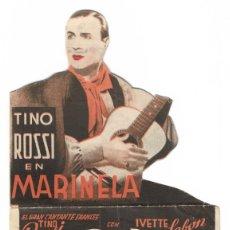 Cine: PROGRAMA DE CINE TROQUELADO - MARINELA - TINO ROSSI - SALÓN NOVEDADES (ALICANTE) - 1936.. Lote 181889547