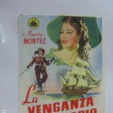 Flyers Publicitaires de films Anciens: LA VENGANZA DEL CORSARIO - FOLLETO MANO ORIGINAL - MARIA MONTES JEAN PIERRE AUMONT IMPRESO. Lote 182001120