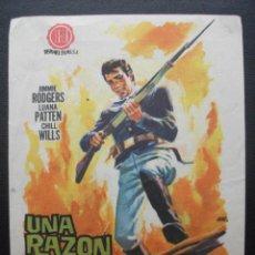 Foglietti di film di film antichi di cinema: UNA RAZÓN PARA VIVIR, JIMMIE ROGERS, TEATRO PRINCIPAL. Lote 182054903