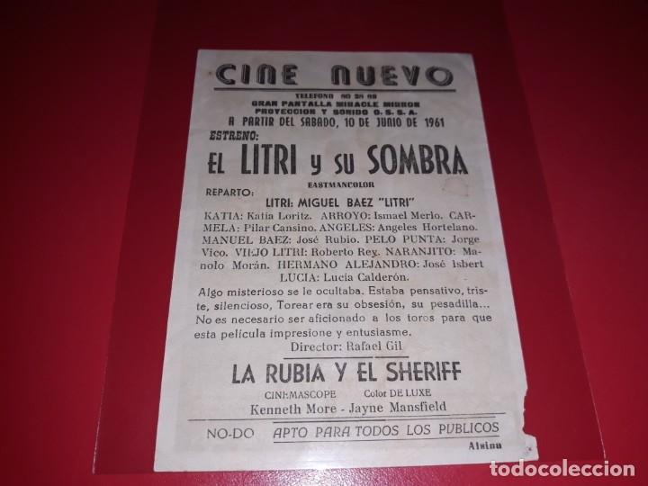 Cine: El Litri y su Sombra con Miguel Baez El Litri. Publicidad del cine al dorso. año 1959 - Foto 2 - 182096070
