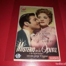 Cine: MISTERIO EN LA OPERA CON BORIS KARLOFF . PUBLICIDAD DEL CINE AL DORSO. AÑO 1944. Lote 182124728
