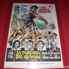 Folhetos de mão de filmes antigos de cinema: LA TABERNA DEL IRLANDES CON JOHN WAYNE. PUBLICIDAD DEL CINE AL DORSO. AÑO 1963. Lote 182201321