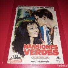 Cine: MANSIONES VERDES CON AUDREY HEPBURN Y ANTHONY PERKINS. PUBLICIDAD DEL CINE AL DORSO. AÑO 1959. Lote 182204345