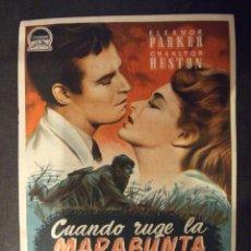 Cine: CUANDO RUGE LA MARABUNTA - SIMPLE CON PUBLICIDAD CINE TROPICAL MALGRAT DE MAL - PERFECTO. Lote 182300710