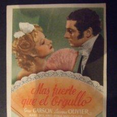 Cine: MAS FUERTE QUE EL ORGULLO - SIMPLE CON PUBLICIDAD CINE TROPICAL MALGRAT DE MAL - PERFECTO. Lote 182304096