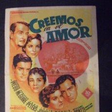 Cine: CREEMOS EN EL AMOR - SIMPLE CON PUBLICIDAD CINE LICEO MALGRAT DE MAL - PERFECTO. Lote 182310042