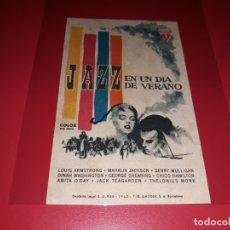 Folhetos de mão de filmes antigos de cinema: JAZZ EN UN DIA DE VERANO CON LOUIS AMSTRONG. PUBLICIDAD DEL CINE AL DORSO. AÑO 1958. Lote 182400356