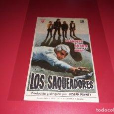Folhetos de mão de filmes antigos de cinema: LOS SAQUEADORES. PUBLICIDAD DEL CINE AL DORSO. AÑO 1960. Lote 182416803