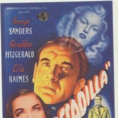 Foglietti di film di film antichi di cinema: PESADILLA. SENCILLO GRANDE DE UNIVERSAL. COLISEUM GARCILASO-TORRELAVEGA 1946. ¡IMPECABLE!. Lote 182468213