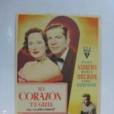 Cine: MI CORAZON TE GUIA - FOLLETO MANO ORIGINAL - DANA ANDREWS MERLE OBERON ETHEL BARRYMORE. Lote 182617678