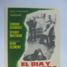 Flyers Publicitaires de films Anciens: EL DIA Y LA HORA - FOLLETO MANO ORIGINAL - SIMONE SIGNORET STUART WHITMAN RENE CLEMENT. Lote 182622746