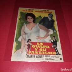 Cine: LA GUAPA Y SU FANTASMA CON SOFIA LOREN Y VITTORIO GASSMAN. PUBLICIDAD DEL CINE AL DORSO. AÑO 1967. Lote 182629410