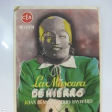 Cine: LA MASCARA DE HIERRO - FOLLETO MANO ORIGINAL - JOAN BENNETT LOUIS HAYWARD IMPRESO. Lote 182678717