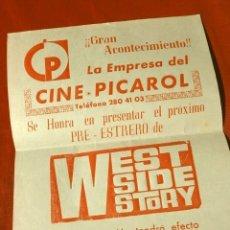 Cine: WEST SIDE STORY (FILM USA 1961) FOLLETO DE MANO - CINE PICAROL (BADALONA) PRE ESTRENO -NATALIE WOOD. Lote 182682843