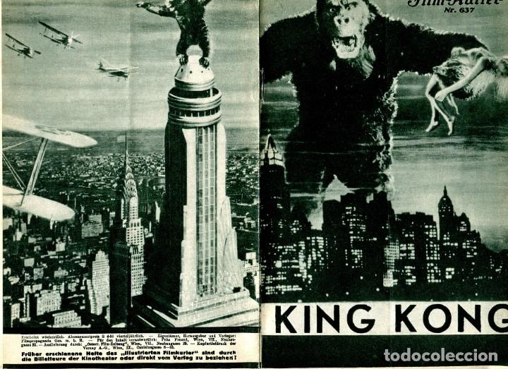 KING KONG, CON FAY WRAY. PROGRAMA ALEMÁN DE 4 HOJAS DE 15 X 23 CMS.. (Cine - Folletos de Mano - Terror)
