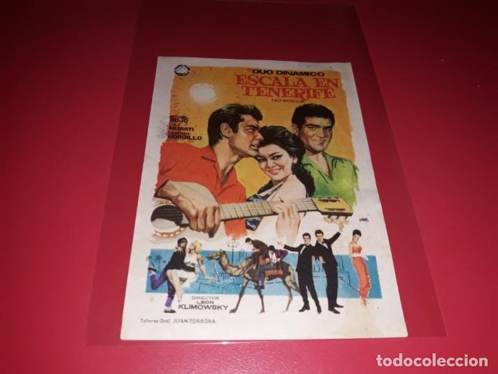 ESCALA EN TENERIFE CON EL DUO DINAMICO . PUBLICIDAD DEL CINE AL DORSO. AÑO 1964. (Cine - Folletos de Mano - Clásico Español)