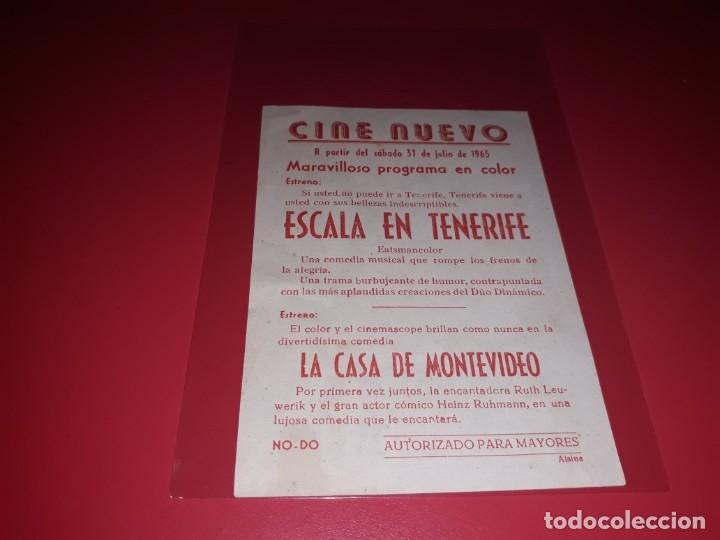 Cine: Escala en tenerife con el Duo Dinamico . Publicidad del cine al dorso. Año 1964. - Foto 2 - 182700457