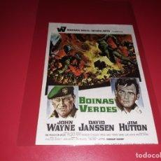 Cine: BOINAS VERDES CON JOHN WAYNE. PUBLICIDAD DEL CINE AL DORSO. AÑO 1968. Lote 182705818