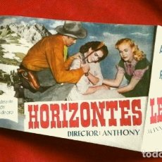 Cine: HORIZONTES LEJANOS (FILM USA 1952) FOLLETO DE MANO - SIN PUBLICIDAD - JAMES STEWART - ANTHONY MANN. Lote 182716977