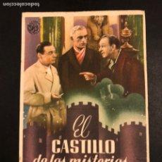 Cine: PROGRAMA EL CASTILLO DE LOS MISTERIOS.PETER LORRE BORIS KARLOFF BELA LUGOSI.CON PUBLICIDAD.TERROR. Lote 182729032