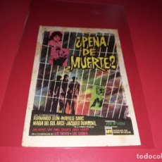 Cine: ¿ PENA DE MUERTE ?. PUBLICIDAD DEL CINE AL DORSO. AÑO 1961. Lote 182774946