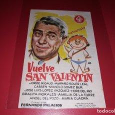Cine: VUELVE SAN VALENTIN. PUBLICIDAD DEL CINE AL DORSO. AÑO 1962.. Lote 182779032