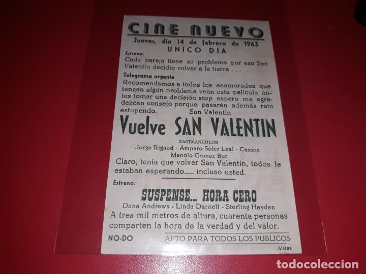 Cine: Vuelve San Valentin. Publicidad del cine al dorso. Año 1962. - Foto 2 - 182779032