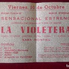 Cine: AB-707.- PROGRAMA DE CINE-- LA VIOLETERA, - SARA MONTIEL, CINE VICTORIA ( BADALONA ) . Lote 182791398