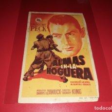 Cine: ALMAS EN LA HOGUERA CON GREGORY PECK. PUBLICIDAD DEL CINE AL DORSO. AÑO 1949. Lote 182875535