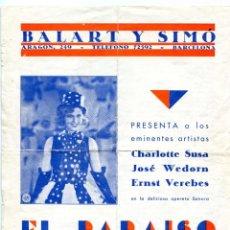 Cine: EL PARAISO DEL VALS, CON CHARLOTTE SUSA. 21,5 X 27,00 CMS.. Lote 182916075