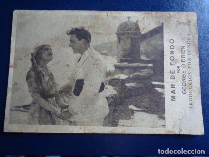 MAR DE FONDO PROGRAMA TARJETA FOX GEORGE O'BRIEN MONA MARIS - CINEMA POMPEYA - VALENCIA (Cine - Folletos de Mano - Bélicas)