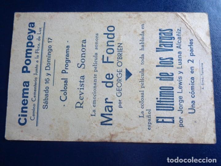 Cine: MAR DE FONDO PROGRAMA TARJETA FOX GEORGE O'BRIEN MONA MARIS - CINEMA POMPEYA - VALENCIA - Foto 2 - 182955981