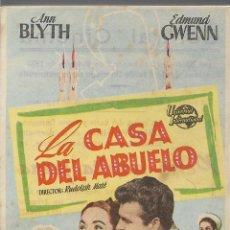 Cine: PROGRAMA DE CINE – LA CASA DEL ABUELO – ANN BLYTH – CENTRAL CINEMA - 1955. Lote 182980370