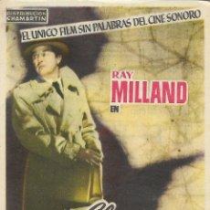 Cine: PROGRAMA DE CINE – EL ESPIA – RAY MILLAND – CINE PARROQUIAL – CONSTANTI - 1954. Lote 182981218