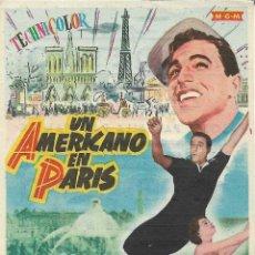 Cine: PROGRAMA DE CINE – UN AMERICANO EN PARIS – GENE KELLY – MODERNO – TARRAGONA - 1954. Lote 182982921