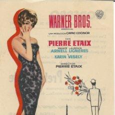 Cine: PROGRAMA DE CINE – EL PRETENDIENTE – PIERRE ETAIX – MODERNO – TARRAGONA - 1963. Lote 182983877