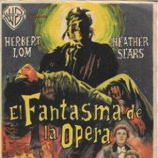 Cine: PROGRAMA DE CINE – EL FANTASMA DE LA OPERA – HERBERT LOM – MODERNO – TARRAGONA - 1963. Lote 182984188