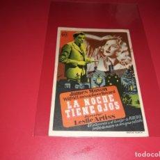 Cine: LA NOCHE TIENE OJOS CON JAMES MASON. PUBLICIDAD DEL CINE AL DORSO. AÑO 1942. Lote 182993633