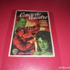 Cine: CONCIERTO MACABRO. PUBLICIDAD DEL CINE AL DORSO. AÑO 1945. Lote 182996478